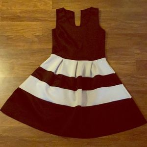 Dresses & Skirts - Black and white striped thick tank a line dress